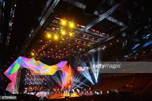 The stage is set for the gala of 2017 Tmall Double 11 Global Shopping Festival on November 8 2017 at MercedesBenz Arena in Shanghai China The...