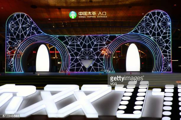 The stage is set for the gala of 2017 Tmall Double 11 Global Shopping Festival on November 9 2017 at MercedesBenz Arena in Shanghai China The...