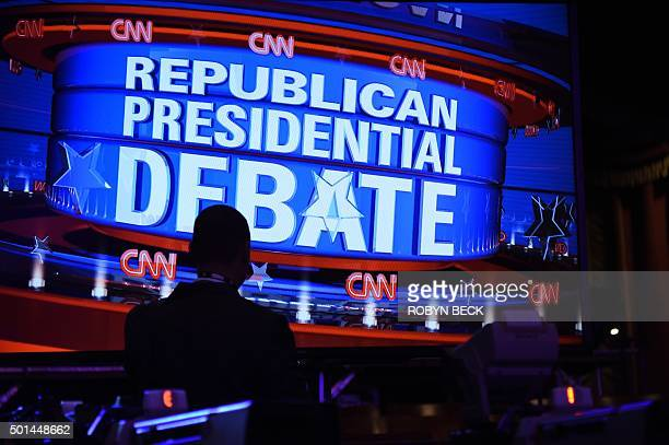 The stage is set for the Republican presidential debate hosted by CNN at The Venetian hotel in Las Vegas Nevada December 15 2015 On the main stage at...