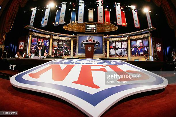 The stage is shown with the NFL Logo at the 2006 NFL Draft on April 29, 2006 at Radio City Music Hall in New York, New York.