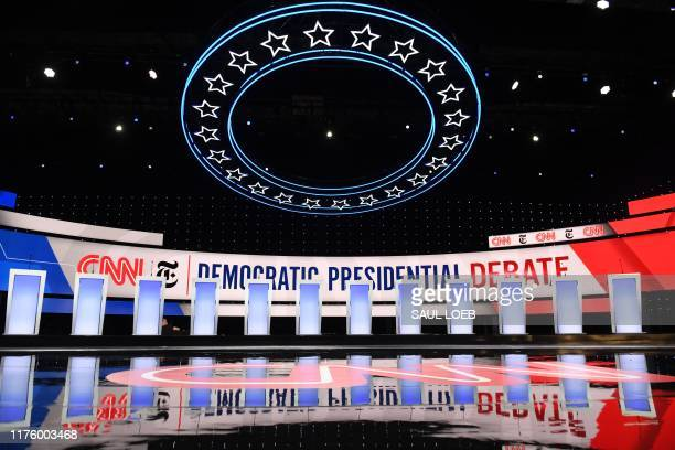 The stage is viewed before the fourth Democratic primary debate of the 2020 presidential campaign season hosted by CNN and The New York Times at...