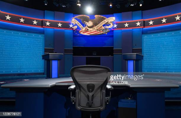 The stage of the first US Presidential debate is seen at Case Western Reserve University and the Cleveland Clinic in Cleveland Ohio on September 28...