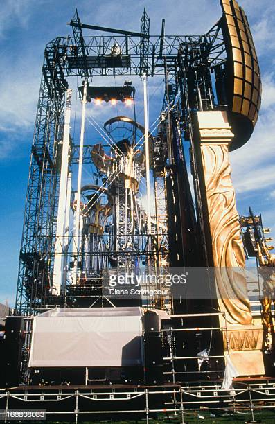 The stage set for a concert on the Rolling Stones' 'Bridges To Babylon' worldwide tour 1997