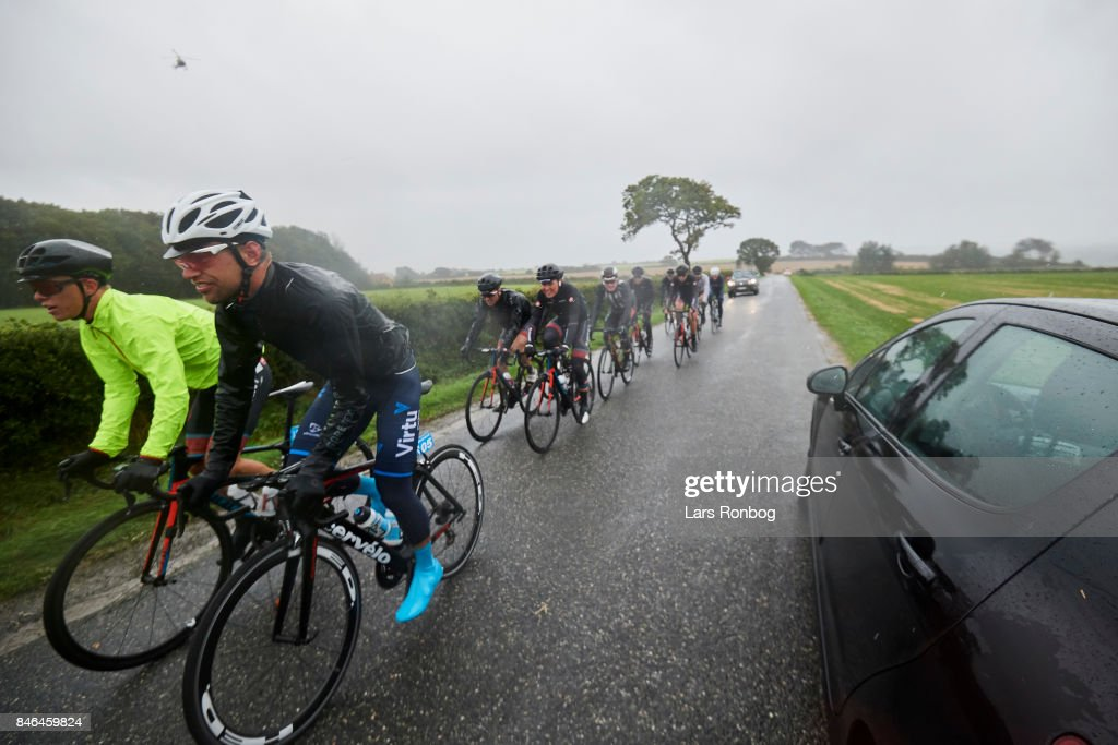 The stage was cancelled due to bad weather and high winds, Mark Sehested Pedersen of Team Virtu Cycling and others are heading back to the hotel after the cancellation of stage two of Tour of Denmark PostNord Danmark Rundt 2017 from Svendborg to Odense on September 13, 2017 in Svendborg, Denmark.