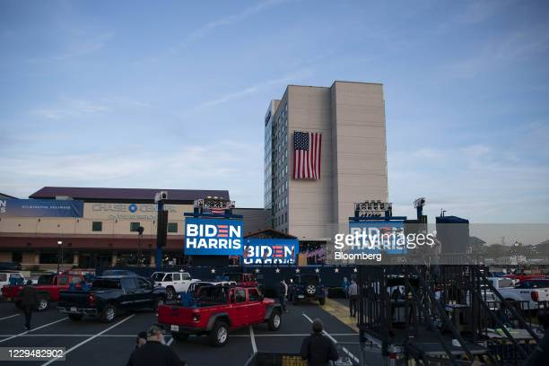 The stage where Joe Biden, 2020 Democratic presidential nominee, is expected to deliver remarks at an election event outside of the Chase Center in...