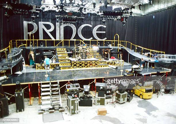 The stage where Prince used to rehearse for his tours inside Paisley Park circa 1990 at Paisley Park in Chanhassen Minnesota
