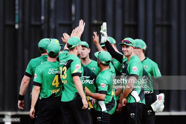 The Stags celebrate the wicket of Tim Seifert of the Knights during the Super Smash Grand Final match between the Knights and the Stags at Seddon...