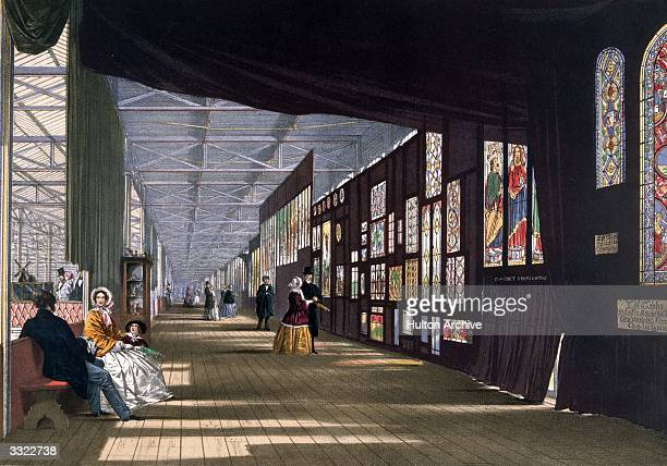 The Stained Glass Gallery at the Great Exhibition in Crystal Palace the glass and iron building designed by Joseph Paxton at Hyde Park London...