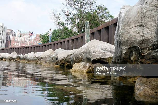 The stains on the rocks below at Belmont Harbor where Elvis Rec is fishing at Belmont Harbor Tuesday June 19 seems to show that Lake Michigan has...