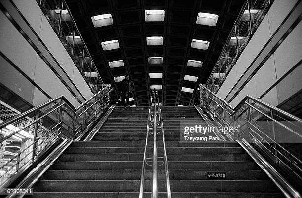 The staircase in the subway station