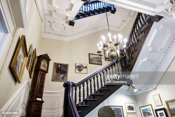 The staircase inside Irad Hawley House