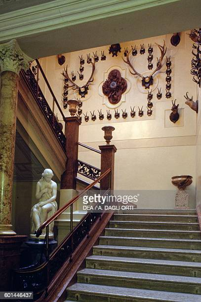 The staircase of Kaiservilla summer residence of Emperor Franz Joseph I and Empress Elisabeth of Austria known as Sisi Bad Ischl Upper Austria Austria