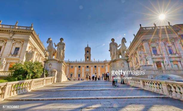 The Stairs and statues of Castor and Pollux by Michelangelo are seen at the Capitoline Hill on October 31 2017 in Rome Italy Rome is one of the most...