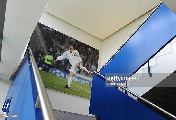 The stairs in the residence for the foreign youth players sports a photograph of Zinedine Zidane scoring a goal at Real Madrid's Valdebebas Ciudad...