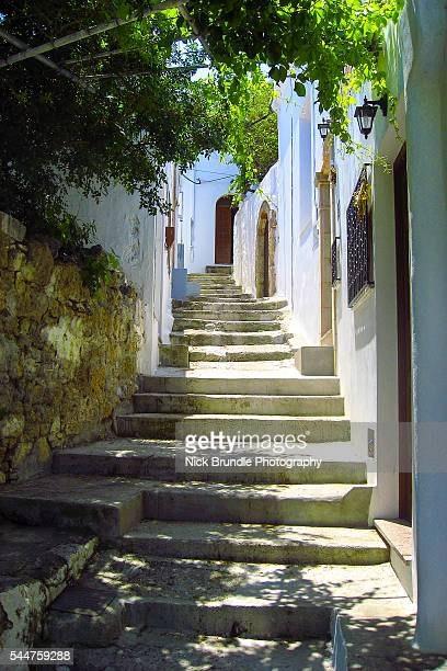 the stairs - lindos stock photos and pictures