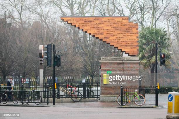 The Stairway to Heaven memorial is seen next to Bethanal Green Tube station entrance in London England on March 3rd 2018 marking the 75th anniversary...