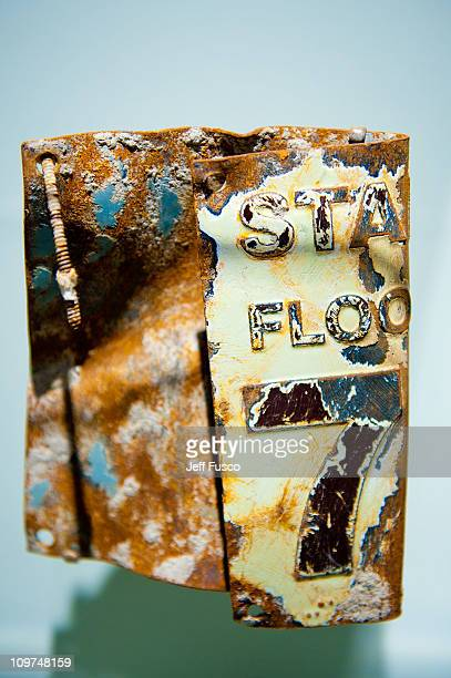 """The stairwell sign from the 78th floor of one of the Twin Towers is displayed at the """"Spies, Traitors & Saboteurs: Fear & Freedom In America""""..."""