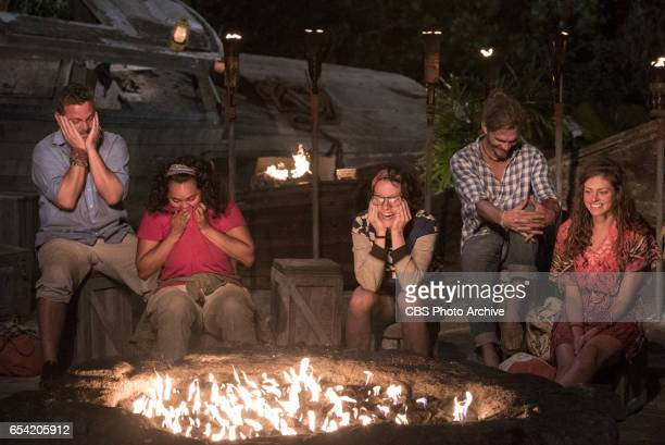 'The Stakes Have Been Raised' Jeff Varner Sandra DiazTwine Aubry Bracco Malcolm Freberg and Hali Ford at Tribal Council on SURVIVOR Game Changers The...