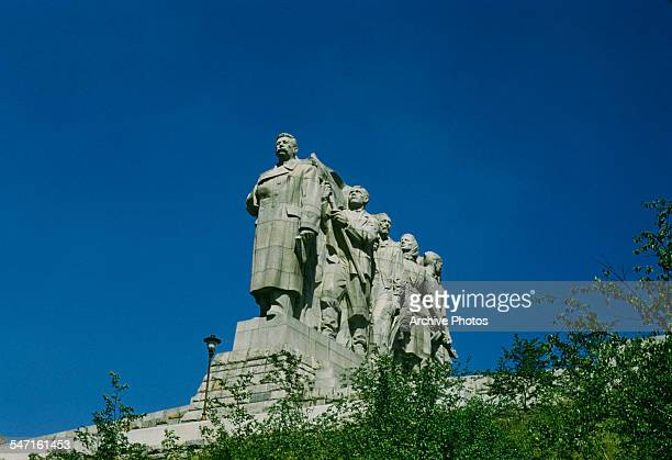 The Stalin Monument in Letna Park Prague Czechoslovakia honouring Soviet leader Joseph Stalin circa 1960 It was unveiled in 1955 and destroyed in 1962