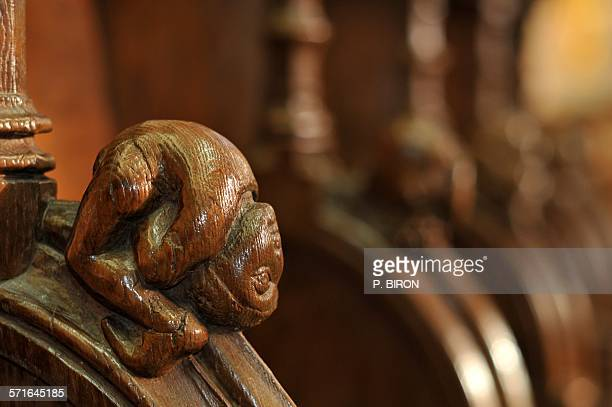 the stalls of saint-etienne church of beauvais - oise stock photos and pictures