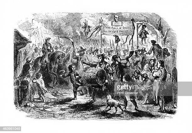 The Stamp Riots of New York c1765 A banner reads The Folly of England and the Right of America The Stamp Act was passed by the British Parliament in...