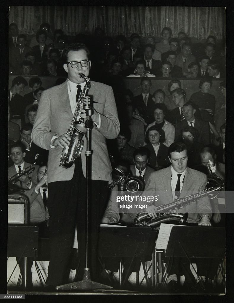The Stan Kenton Orchestra in concert, 1956. Saxophonists Lennie Niehaus and Tommy Whittle. Artist: Denis Williams.