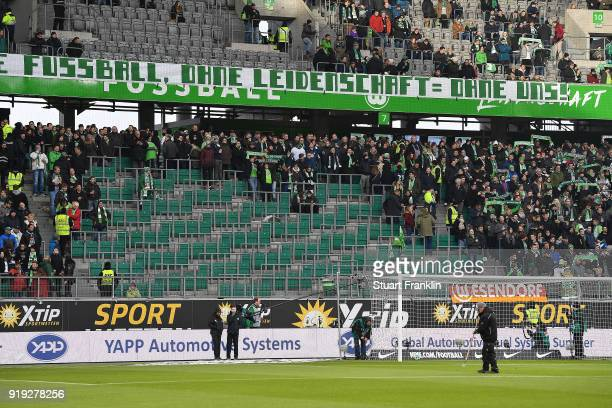 The stand of the Wolfsburg Ultras is empty due to a protest before the Bundesliga match between VfL Wolfsburg and FC Bayern Muenchen at Volkswagen...