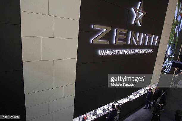 The stand of Zenith at Baselworld watch and jewellry Fair trade on March 17 2016 in Basel Switzerland Held annually Baselworld is the leading watch...