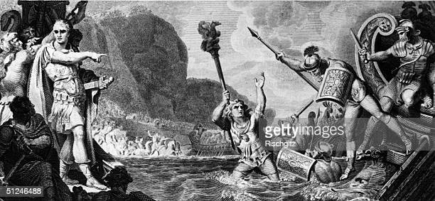 55 BC The standard bearer of the Tenth Legion leaping into the sea during Julius Caesar's first invasion of Britain forcing the reluctant legionaries...