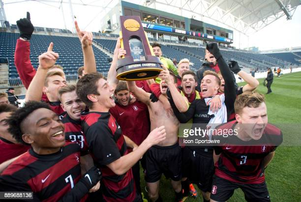 The Standford Cardinal celebrate after winning the College Cup game between The Stanford Cardinal and Indiana Hoosiers on December 10 2017 at Talen...