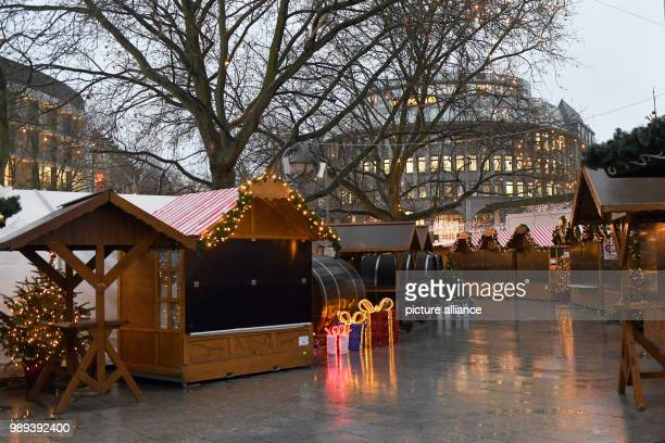The stands of the Christmas market at the memorial church are closed on the oneyear anniversary of the terror attack on the Christmas market on...