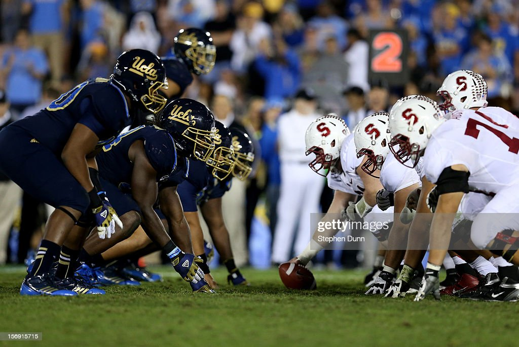 The Stanford Cardinal and the UCLA Bruins face off on the line of scrimmage at the Rose Bowl on October 13, 2012 in Pasadena, California. Stanford won 35-17.