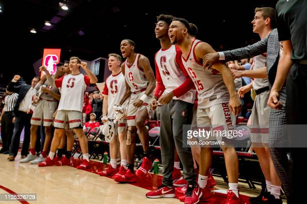 The Stanford Cardinal bench celebrates a great play during the men's college basketball game between the USC Trojans and Stanford Cardinal on...