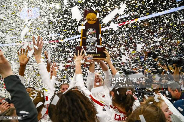 The Stanford Cardinal celebrate after the match against the Nebraska Cornhuskers on December 15 2018 at Target Center in Minneapolis Minnesota The...