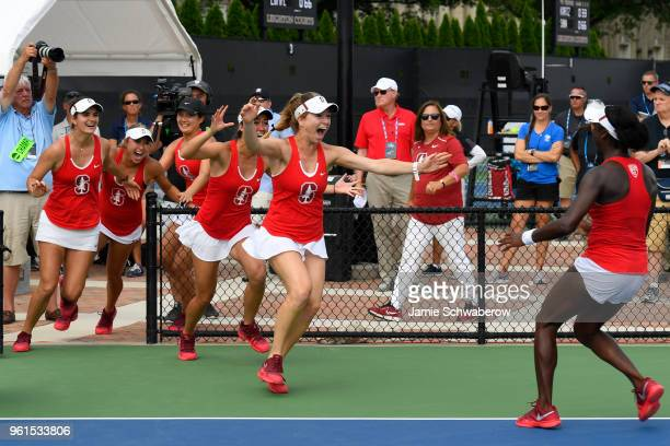 The Stanford Cardinal celebrates their victory over the Vanderbilt Commodores during the Division I Women's Tennis Championship held at the Wake...