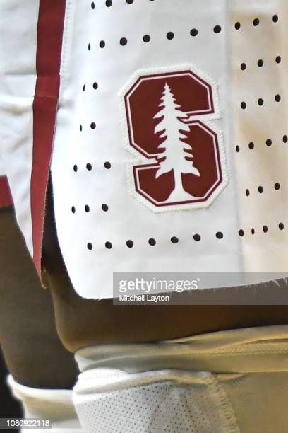 The Stanford Cardinal logo on a pair of shorts during a Rainbow Wahine Showdown women's college basketball game against the American University...