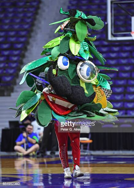 The Stanford Cardinal mascot performs against the New Mexico State Aggies during the first round of the 2017 NCAA Women's Basketball Tournament at...