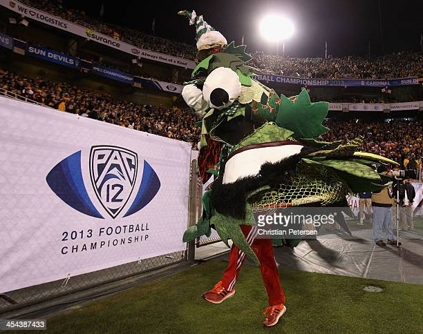 The Stanford Cardinal mascot Tree performs during the Pac 12 Championship game against the Arizona State Sun Devils at Sun Devil Stadium on December...