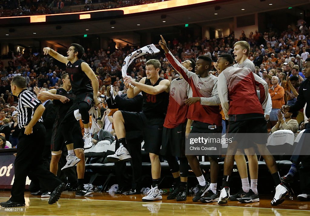 The Stanford Cardinal reacts after taking the lead in overtime against the Texas Longhorns at the Frank Erwin Center on December 23, 2014 in Austin, Texas.