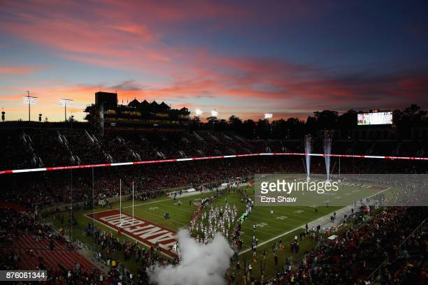 The Stanford Cardinal run on to the field for their game against the California Golden Bears at Stanford Stadium on November 18 2017 in Palo Alto...