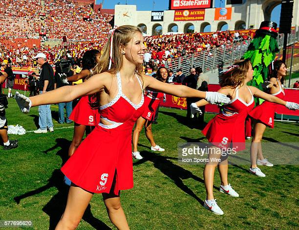 The Stanford cheerleaders during a college football game between the Stanford Trees and the USC Trojans played at the Los Angeles Memorial Coliseum...
