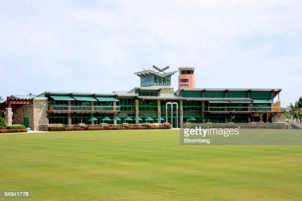 The Stanford Cricket Grounds and The Sticky Wicket Restaurant which are owned by Stanford Financial Group Chairman R Allen Stanford stand in St...