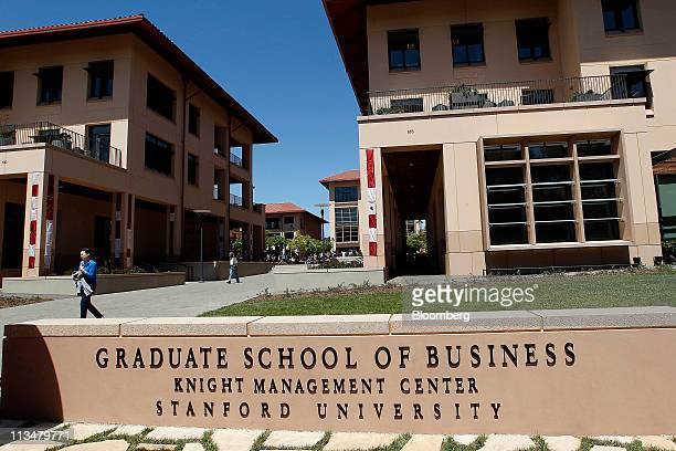 The Stanford Graduate School of Business stands during the the grand opening of the Knight Management Center in Palo Alto California US on Friday...