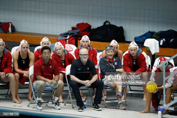 The Stanford University women's water polo team watches during the Division I Women's Water Polo Championship held at the IU NatatoriumIUPUI Campus...