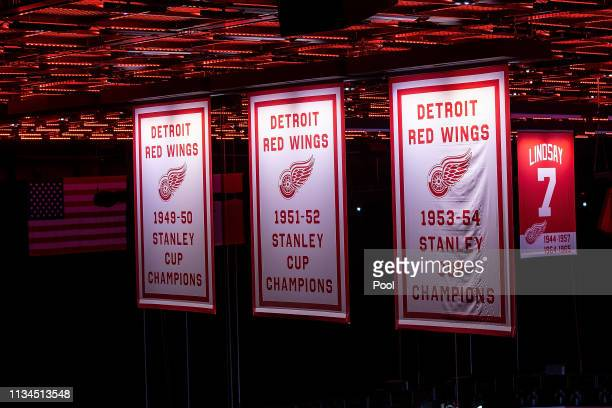 The Stanley Cup Banners that hang in the rafters that Ted was a part of during the public visitation of NHL Hall of Famer and former Detroit Red Wing...