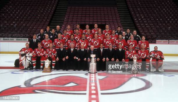 The Stanley Cup Champion New Jersey Devils take a team photo in June 2000 after winning the Stanley Cup against the Dallas Stars at the Continental...