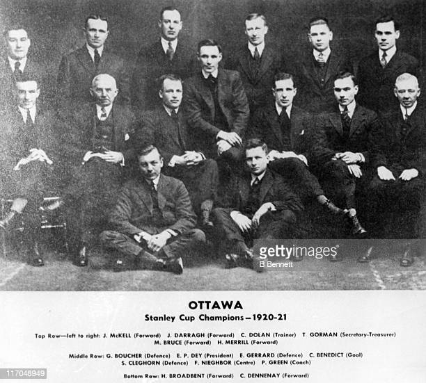 The Stanley Cup Champions of 192021 Ottawa Senators pose for a team portrait circa 1920 in Ottawa Ontario Canada Jack MacKell Jack Darragh Frank...