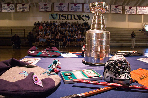 The Stanley Cup, famous ice hockey trophy, makes a visit to local school.