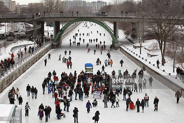 The Stanley Cup highlights the NHL Trophy Procession as it winds its way along Rideau Canal to kick off the NHL All-Star Festivities on January 27,...