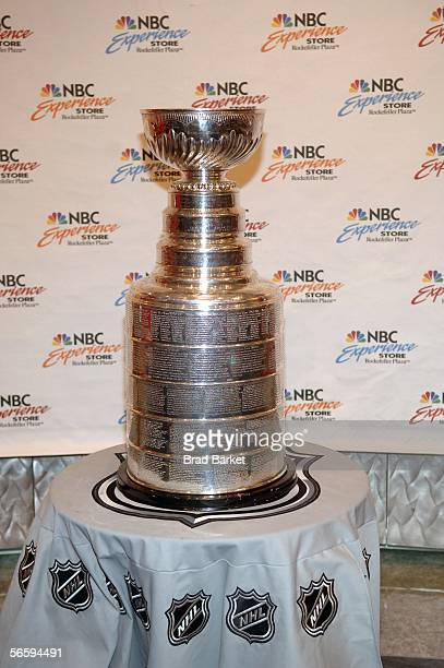 The Stanley Cup is seen at the NBC Experience Store in Rockefeller Plaza on January 14 2006 in New York City The public was invited to bring their...